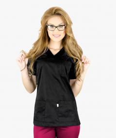 Czarna bluza medyczna Ola z krótkim rękawem