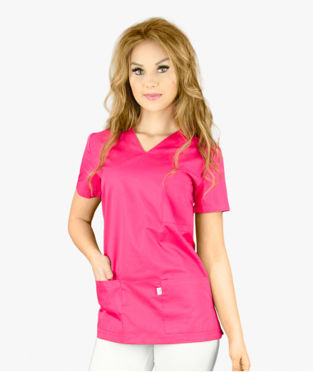 Damska bluza medyczna z krótkim rękawem, wkładana przez głowę z praktycznymi kieszeniami.