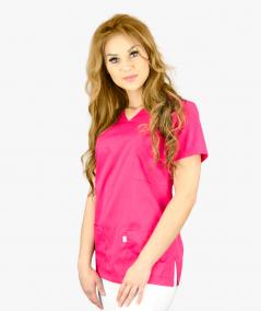 Malinowa bluza medyczna Nora z krótkim rękawem