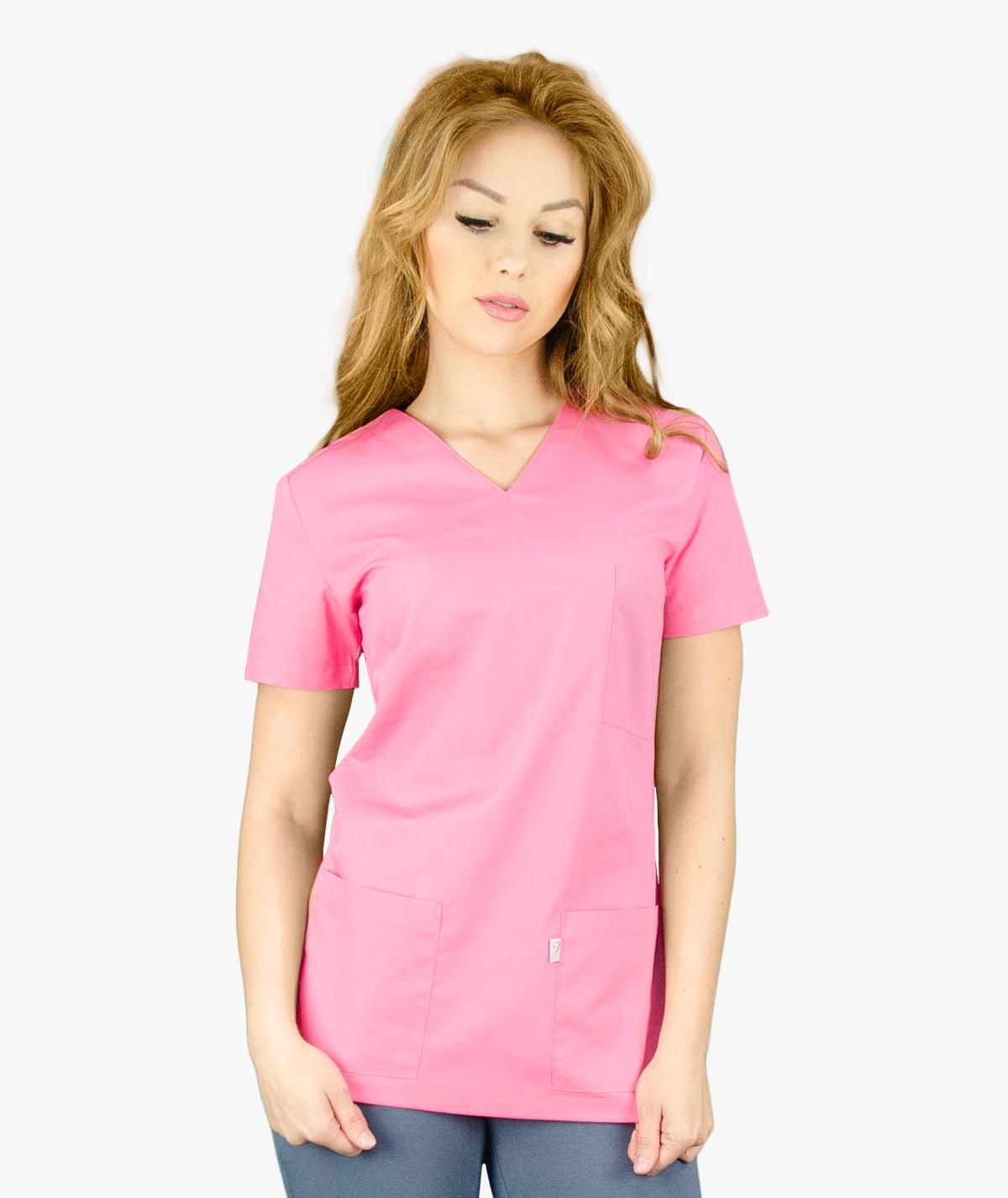 Ciemnoróżowa bluza medyczna Nora z krótkim rękawem