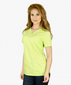 Groszkowa bluza medyczna Nora z krótkim rękawem