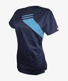 Granatowo-turkusowa bluza medyczna Aga z krótkim rękawem