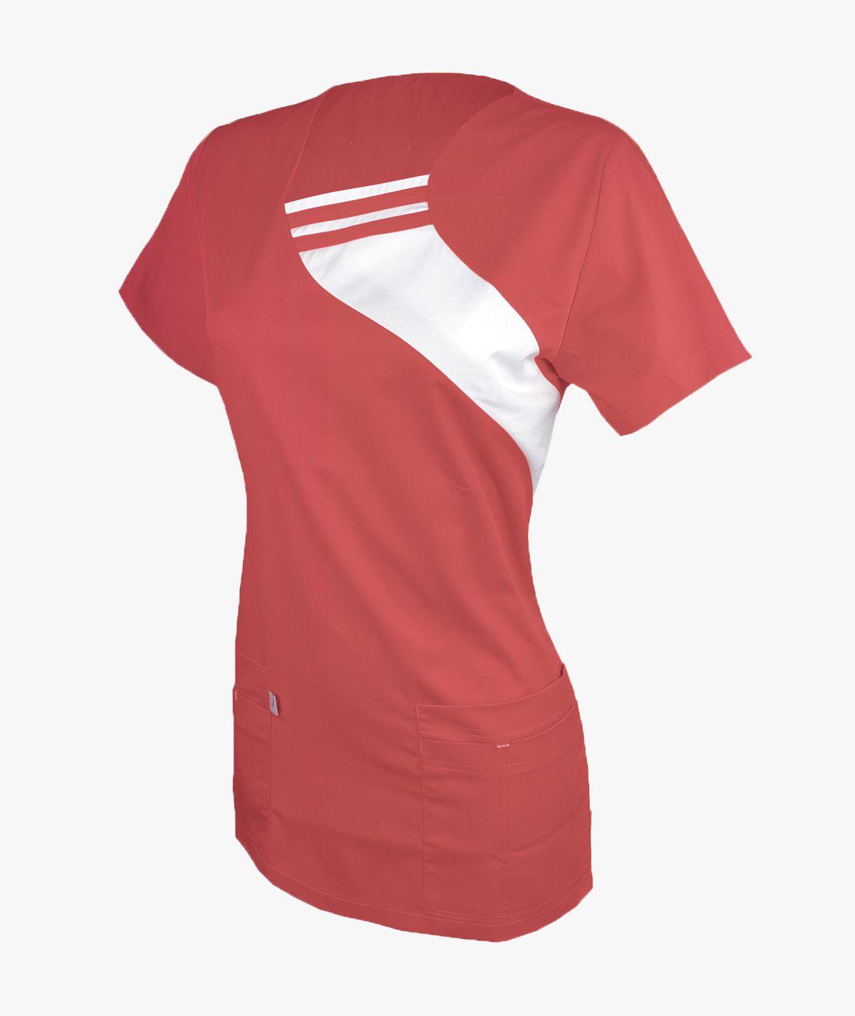 Koralowa bluza medyczna Aga z krótkim rękawem