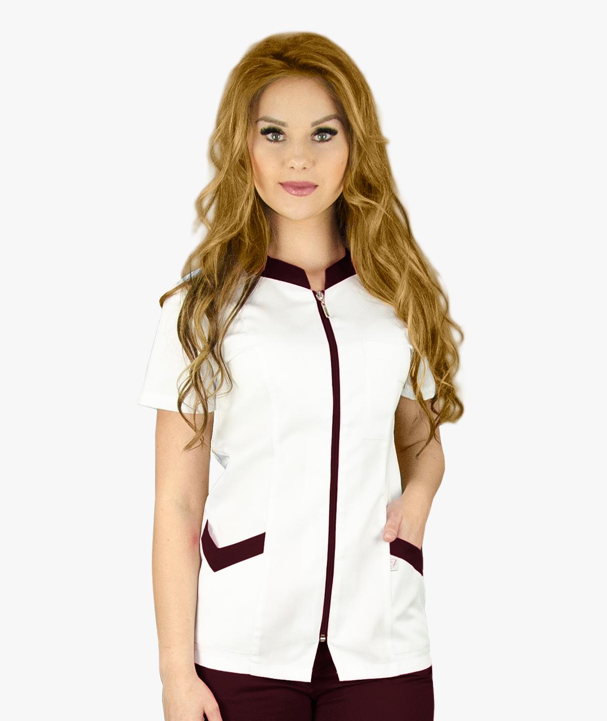 Biały żakiet medyczny Dagmara z krótkim rękawem