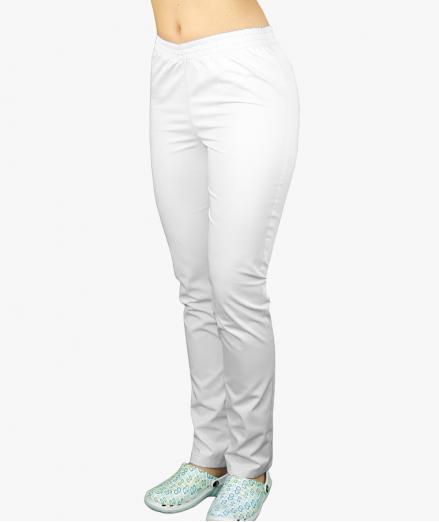 Białe spodnie medyczne na gumie