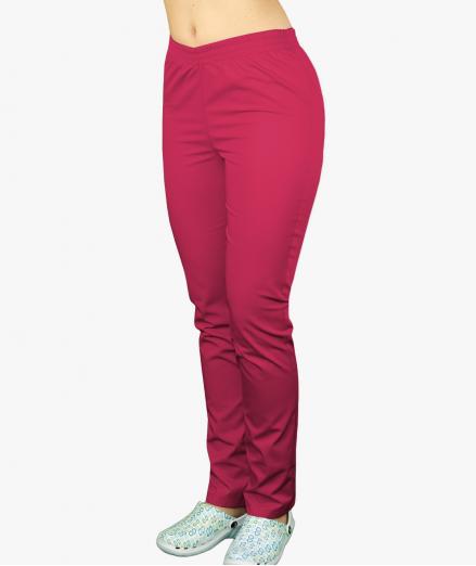 Malinowe spodnie medyczne na gumie