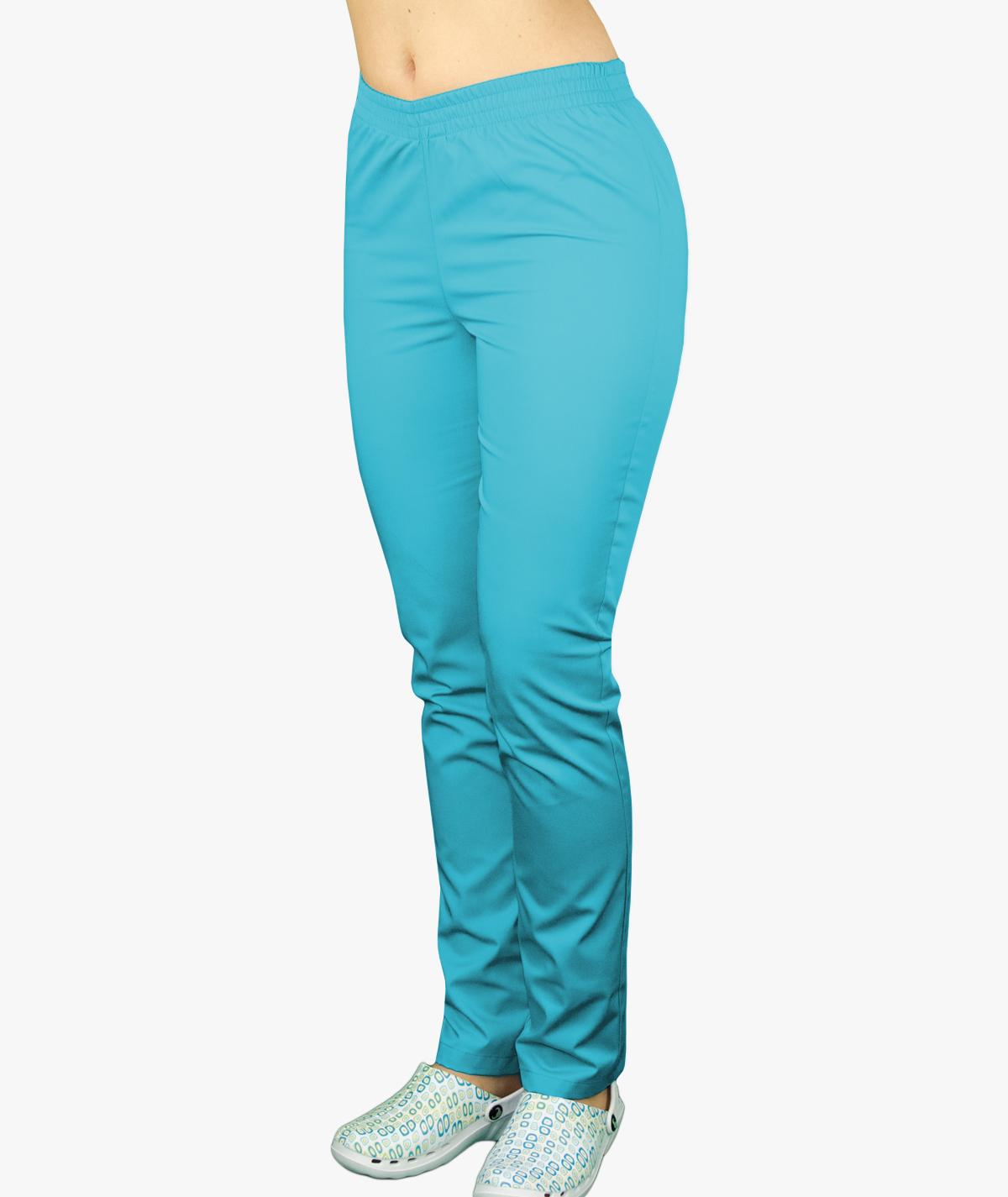 Turkusowe spodnie medyczne na gumie
