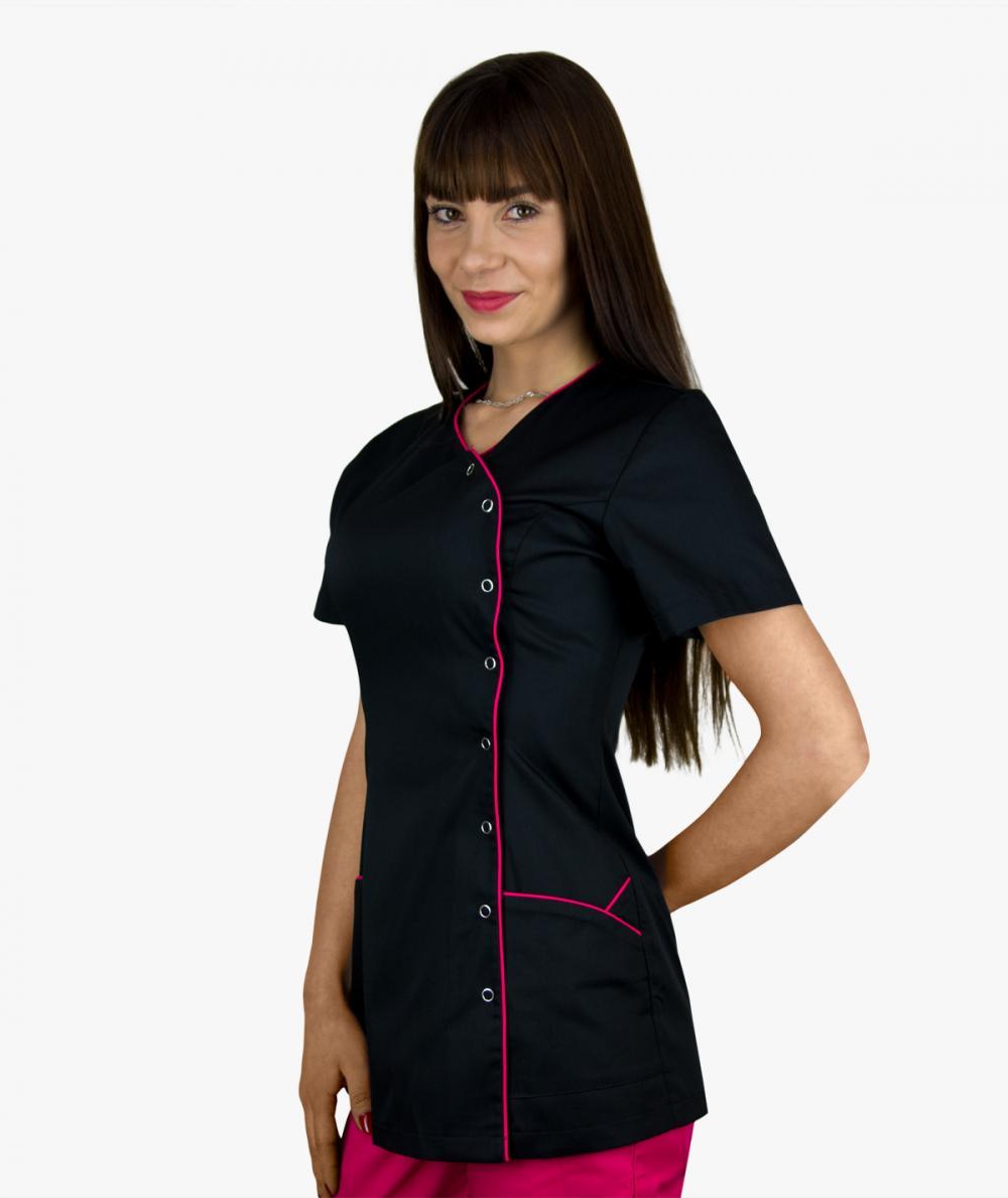 Czarny żakiet medyczny Sandra z krótkim rękawem