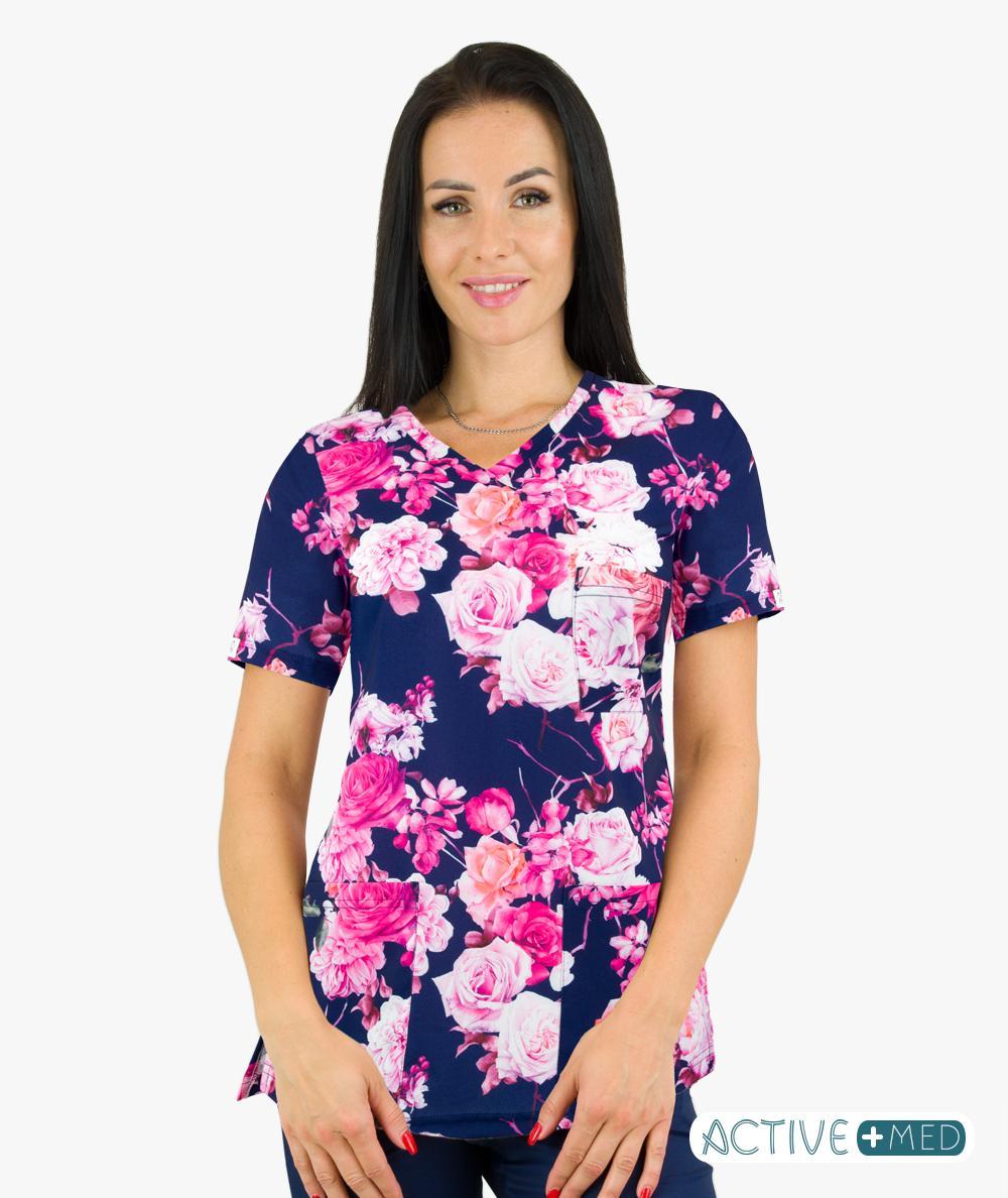 Bluza scrubs medyczny Paint ACTIVE różowe kwiaty
