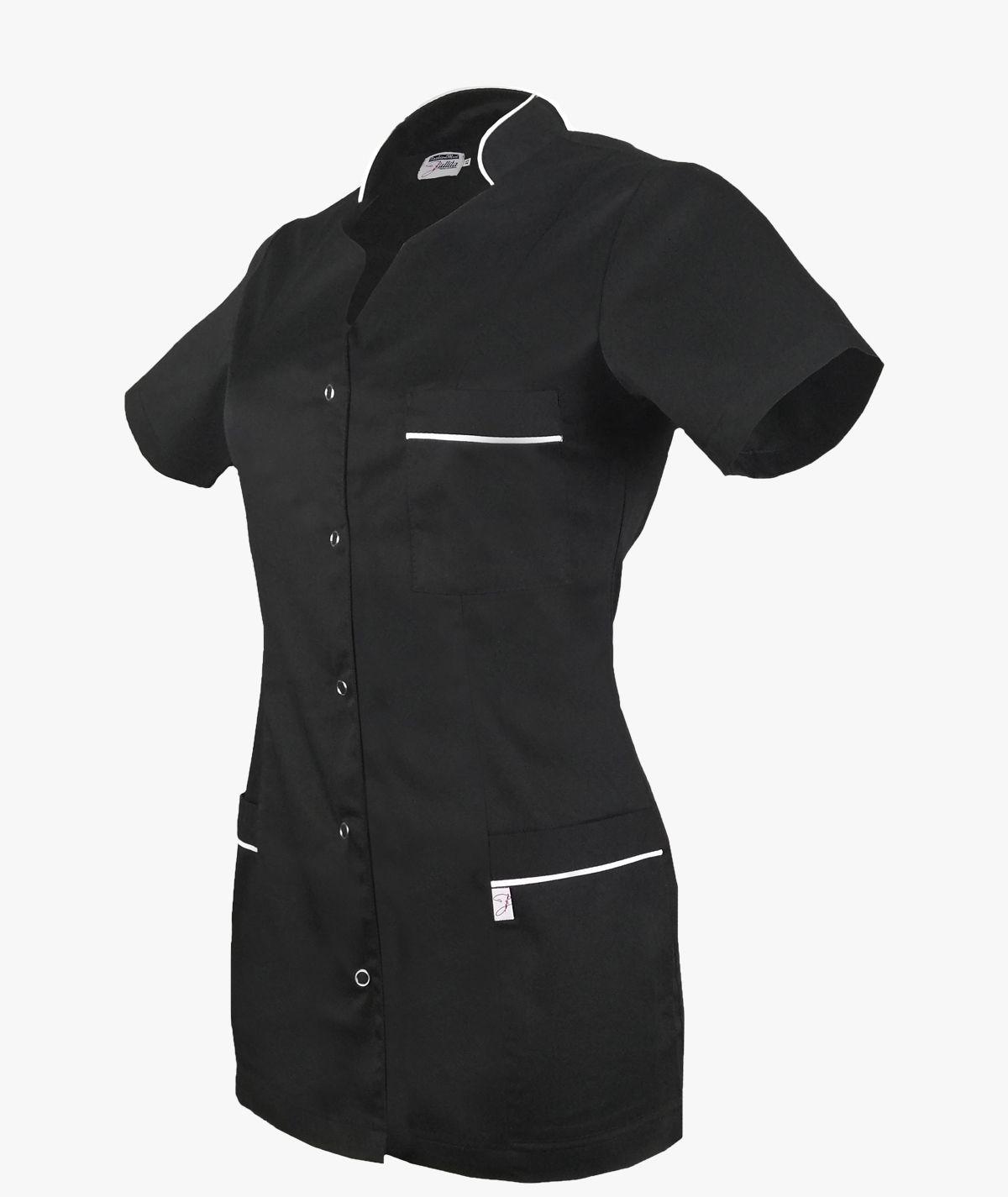 Czarny żakiet medyczny Jowita z krótkim rękawem