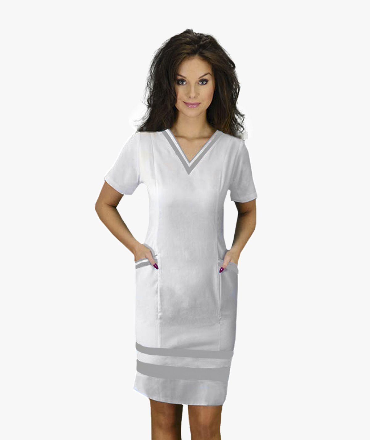 Biała sukienka medyczna Maja