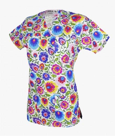 Bluza medyczna damska w wielobarwne koła z praktycznymi kieszeniami