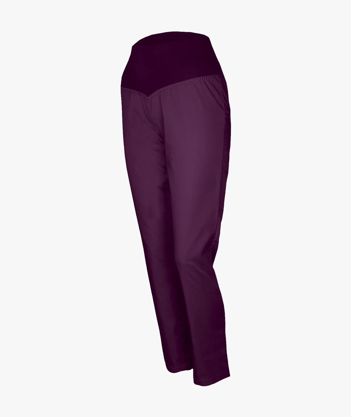 Śliwkowe spodnie medyczne ze ściągaczem