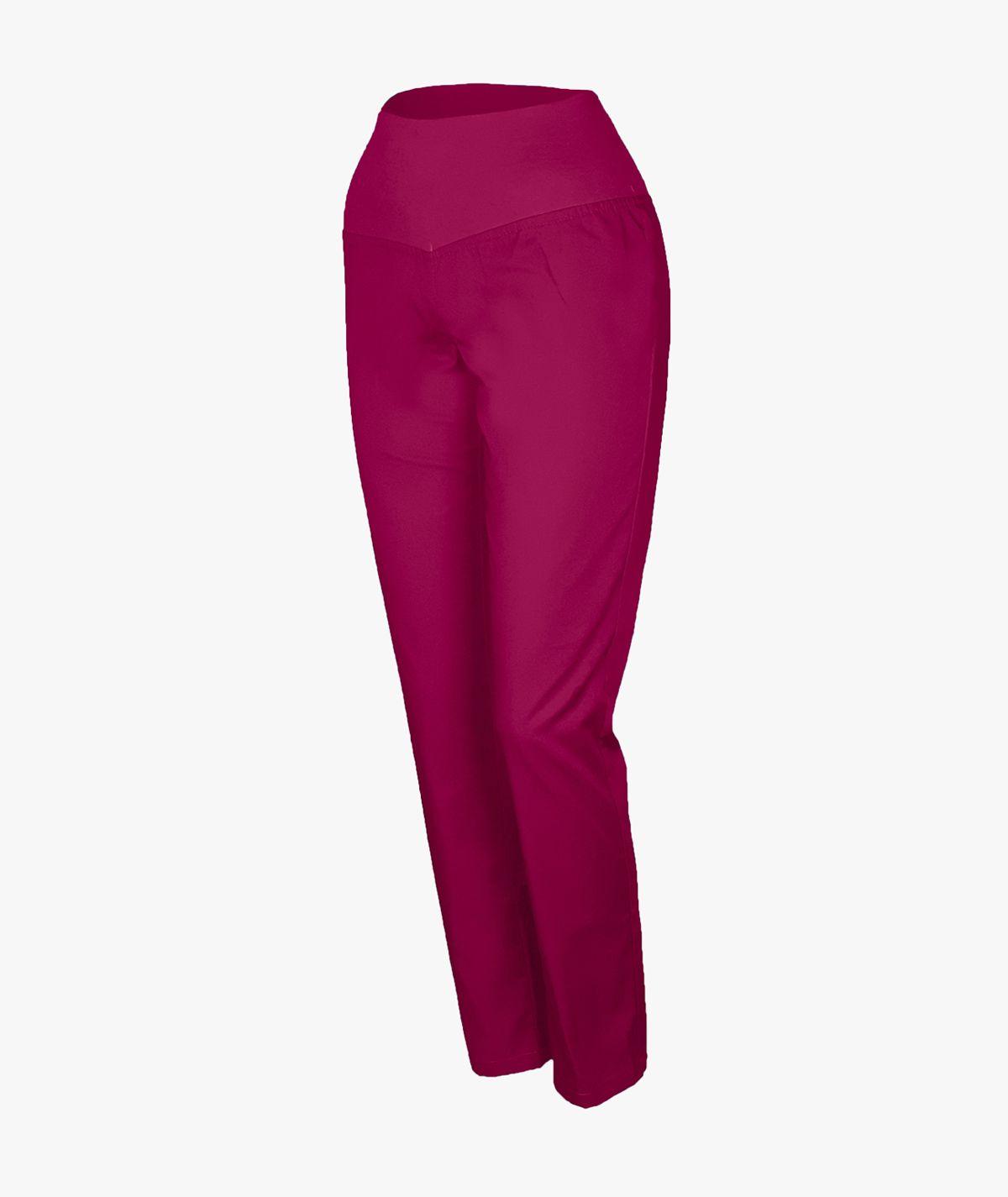 Malinowe spodnie medyczne ze ściągaczem