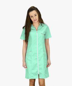 Seledynowo-biała sukienka medyczna Eliza